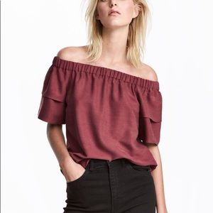 Burgundy off-the-shoulder